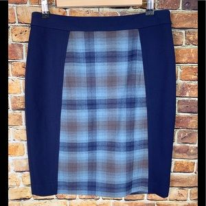 Halogen Navy Blue & Plaid Pencil Skirt Size 6P